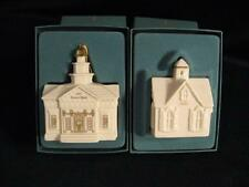 Lenox Christmas Village Town Hall And Village Church Ornaments In Original Boxes