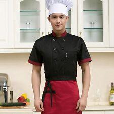 Chef Coat Jacket Chef Uniform Kitchen Short Sleeve Cooker Restaurant Work Men