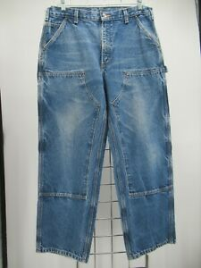 M0673 VTG Carhartt Men's Double Knee Logger Dungaree Denim Jeans Size 36/30