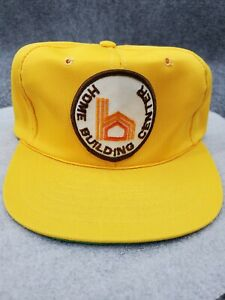 Vintage Home Building Center Patch Hat Company Logo Snap Back Trucker Cap Yellow