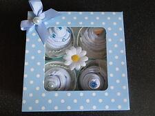CUPCAKE SOCKS BABY BOY GIFT BOX/BABY SHOWER,MATERNITY LEAVE,NEW BABY