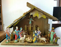 "Antique DEPOSE ITALY 12 Piece Nativity Figures with Creche 13"" Tall 17"" Wide"