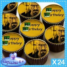 24 X BIRTHDAY BREAKING BAD CUPCAKE TOPPERS EDIBLE RICE PAPER CC0408