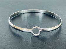 Genuine 925 Sterling Silver Bangle Bracelet Open Circle Women Geometric Solid