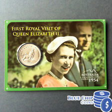 1954 FIRST ROYAL VISIT OF QUEEN ELIZABETH II FLORIN COIN ON CARD