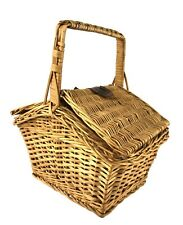 """New listing Vintage Wicker Small Picnic Basket or Purse w/ Handle & Leather Closure 11"""" Tall"""