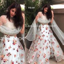 White Net Lehenga Choli Chunri Designer Wedding Wear Lengha Indian Lahanga Saree
