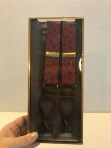 NEW Men's Red Floral Silk Suspenders- Retails $62