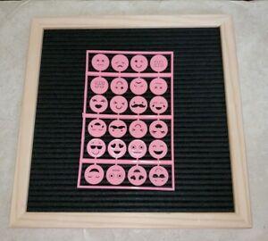 Plastic Letters Expressions EMOJIS for Felt Letter Board Pink (24emojis)