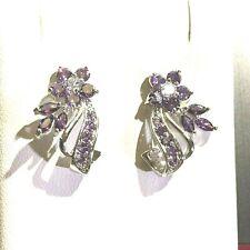 Vintage Inspired Stud Earrings White Gold Purple Amethysts 18k gf BOXED RRP £45