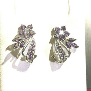 Vintage Inspired Stud Earrings White Gold Purple Amethysts 18k gf BOXED RRP £45