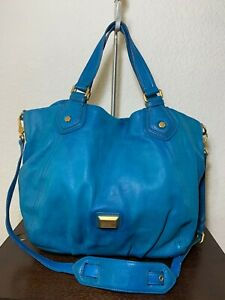 MARC JACOBS Turquoise Blue Leather Satchel Crossbody Shopper Shoulder Purse Bag