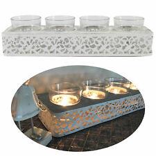 Teelichthalter Kerzentablett Kerzenschale Teelichtständer Holz Metall Weiß Antik