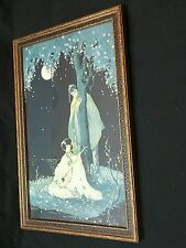 """MARYGOLD Art Deco framed art print lithograph period frame 10×15"""" Orient Asian"""