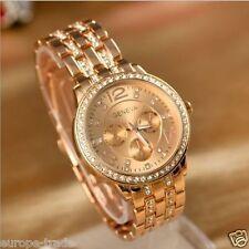 Oro Rosa Rhinestone Reloj Pulsera señoras para mujer Moda Ronda Diseñador