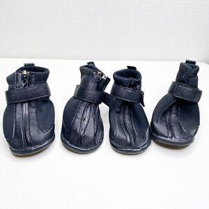 4 URBEST Dog Boots Anti-Slip Sole PU Leather Zip + Hook & Loop Closure XXL