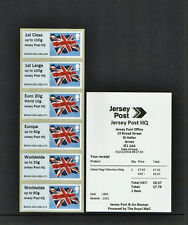 OVERPRINT JERSEY POST HQ ON UNION FLAG POST & GO COLLECTOR STRIP JE01 SCARCE
