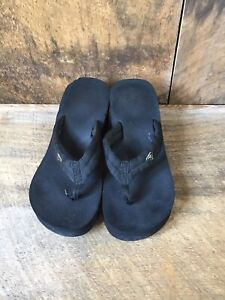 Roxy Flip Flops Black Wedge Platform Sandal 8.5