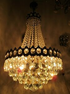 "Antique French Huge Bohemia Crystal Chandelier Ceiling Lamp 1940's 16"" Dmtr."