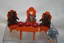 Miniature Dollhouse Childs Toy 3 Bears Chairs Table & Empty Porridge Bowls 1:12