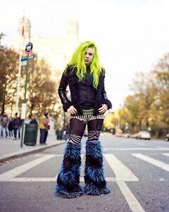 Monster Faux Fur Rave Leggings, Raver Boot Covers