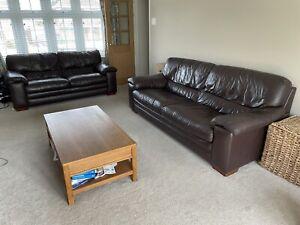 Furniture Village Carolina Sofa 2 Seater & 3 Seater Dark Chocolate Brown Leather