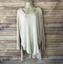 Free People Waffle Thermal Oversize Hi Low Legging Shirt Ivory SMALL