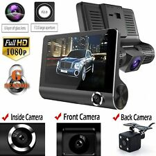 "4"" 1080P HD 170° 3 Lens Car DVR Dash Cam G-sensor Recorder + Rearview Camera"