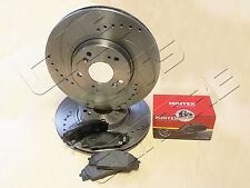 FOR HONDA CIVIC 2.0 TYPE R EP3 FRONT BRAKE PADS DRILLED GROOVED BRAKE DISCS