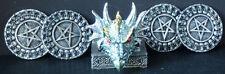 "BLUE SHIELD   Dragon Head Holding  4 Coasters   H4"""