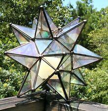 vintage Moroccan glass metal Moravian star shaped lantern pendant candle holder