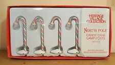 Dept 56 North Pole Candy Cane Lamp Posts Heritage Village Accessories Set of 4