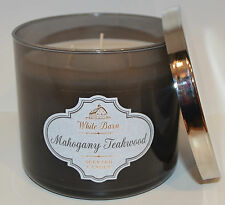 BATH BODY WORKS MAHOGANY TEAKWOOD SCENTED CANDLE 3 WICK 14.5 OZ LARGE WHITE BARN