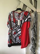 TS TAKING SHAPE ALERT Red Black White Short Sleeve Stretch Top Blouse BNWT XS S