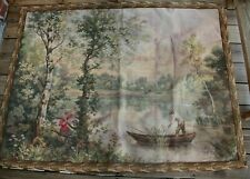 Antique French Tapestry Panneaux Gobelins D'apres Corot Trees Woman Man Romantic