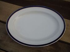 Empire Ware Stoke on Trent Large Vintage Blue and White Meat Plate Gold Trace