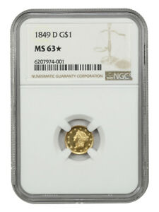 1849-D G$1 NGC MS63 *Star* - Gorgeous! - 1 Gold Coin - Gorgeous!
