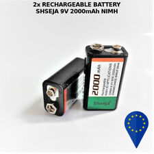 2x BATTERY SHSEJA 9V 2000mAh HIMH RECHARGEABLE BATTERIA RICARICABILE