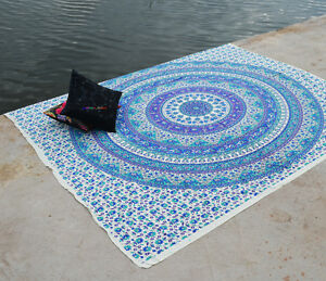 Star Mandala Tapestry Blue color Home Decor Indian Bohemian Throw Queen Wall Art