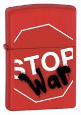 Zippo Lighter - Stop War Red Matte - Zippo 28140 - Free Pack Of Flints