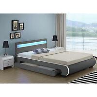 Design en Cuir+LED  Lit+Sommier Double 140 ou 180 x 200 bed BLANC NOIR ou GRIS