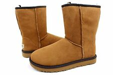 UGG CLASSIC SHORT WEAVE CHESTNUT SUEDE SHEEPSKIN BOOTS SIZE 8 US RARE!