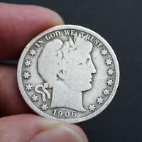 Pièce Argent Etats-Unis Quart de Dollar Barber 1906 USA Silver Coin