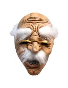 Halloween Bad Abuelo Arrugado Cara Gafas Cool Anciano Cosplay Látex Máscara 1940