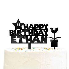 2 Pc Personalized Happy Birthday Name Super Mario Star Piranha Plant Cake Topper
