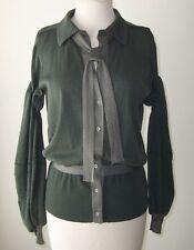 BALENCIAGA Grey Green Cardigan Tie Button Sweater Top 40 8