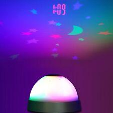 Projecteur Radio Réveil étoile LED Alarm Horloge Table Lumière Enfant Cadeau NF