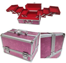 PINK Rose in alluminio Bellezza Scatola Cosmetici Make Up Custodia VANITY Saloon Storage Bag