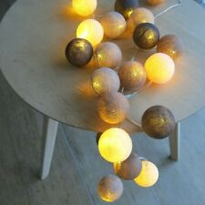 Cotton Ball Lights 20 er Lichterkette braun creme taupe Bälle LED Kugeln