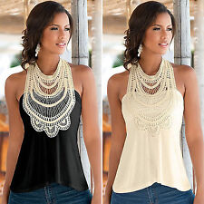 AU Womens Lace Sleeveless Vest Tops Summer Casual Tunic Tank Tops T-shirt Blouse